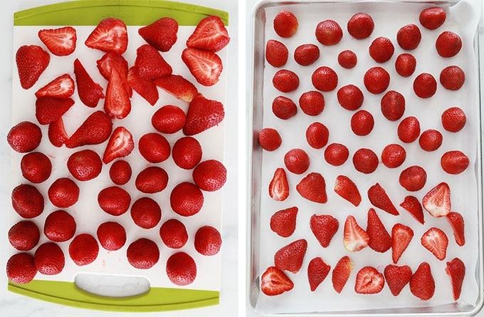 Etapes congelation des fraises - grosses fraises coupees et plus petites entieres - fraises etalees dans une plaque - fraises congelees dans une plaque
