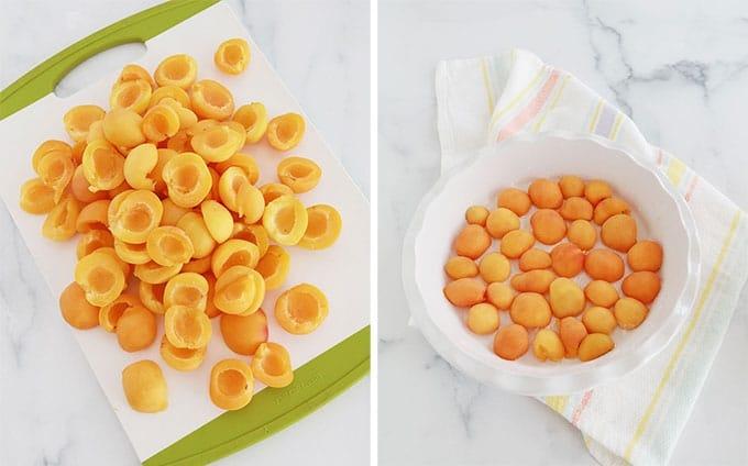 Abricots - denoyautes et coupes sur une plaque a decouper et au fond d'un moule