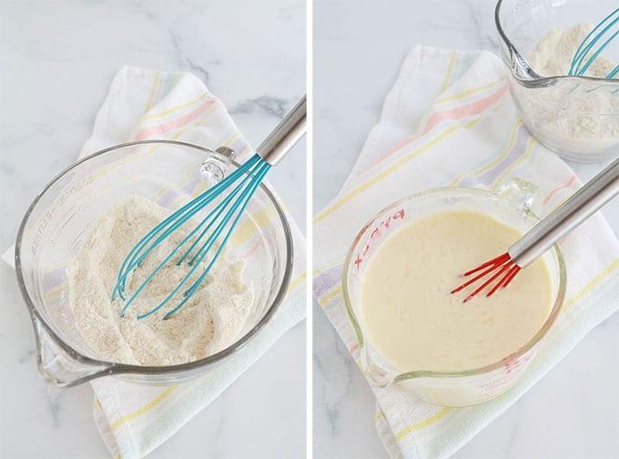 Bol à gauche : ingrédients secs de l'appareil à clafoutis. Bol à droite : ingrédients liquides de l'appareil à clafoutis.