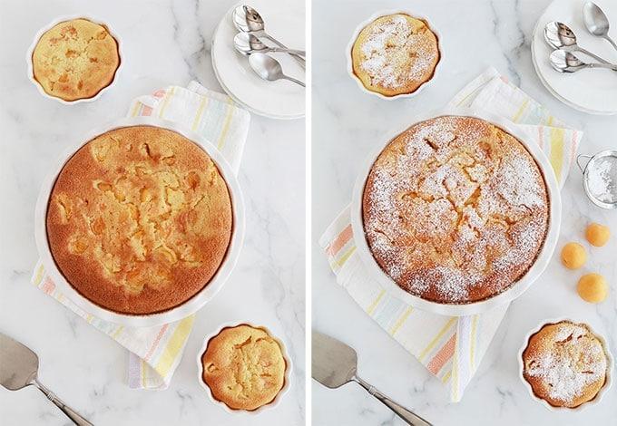 Clafoutis abricots amandes cuit dans un moule à tarte et tartelette, puis saupoudré de sucre glace