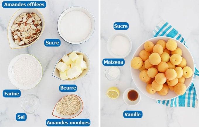 Ingrédients du crumble abricots amandes