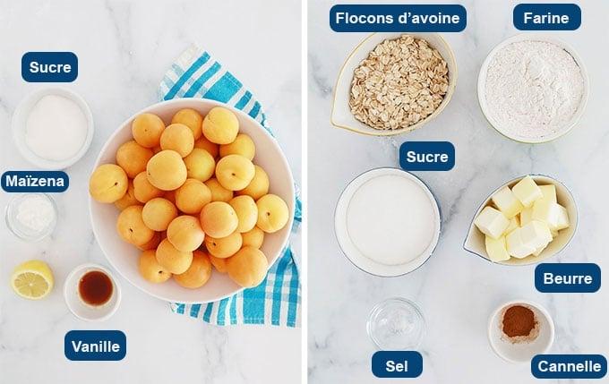Ingrédients du crumble aux abricots flocons d'avoine