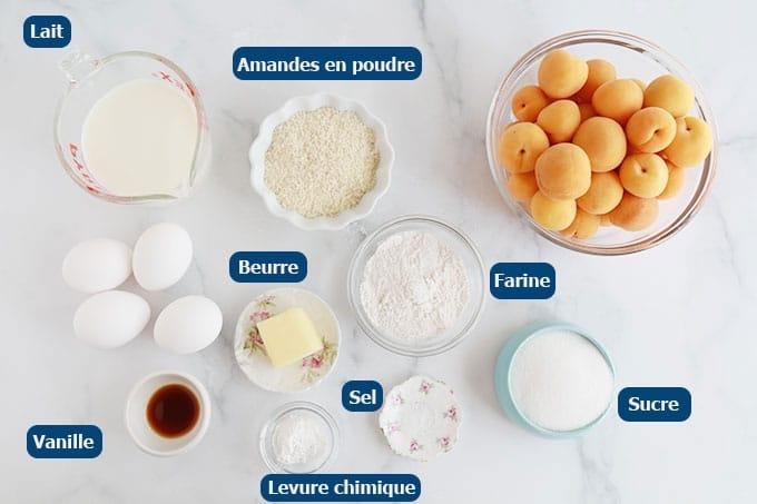 Ingrédients du clafoutis aux abricots et amandes en poudre