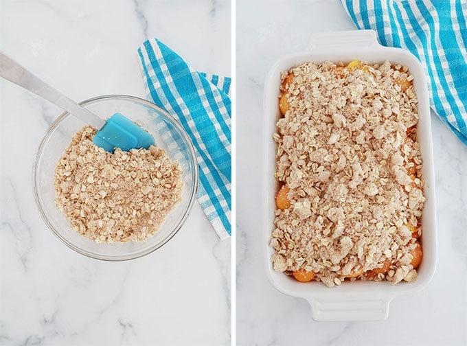 Pâte à crumble aux flocons d'avoine dans un bol et sur une garniture d'abricots dans un plat à gratin