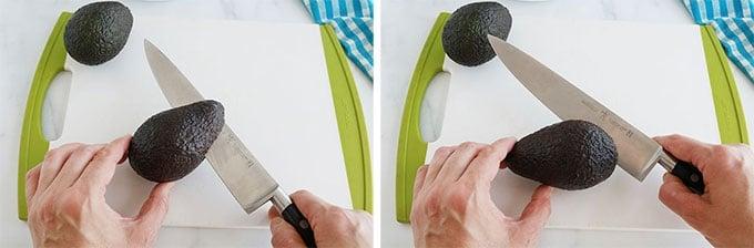 Avocat sur une planche a decouper incisé avec un couteau tout autour du noyau