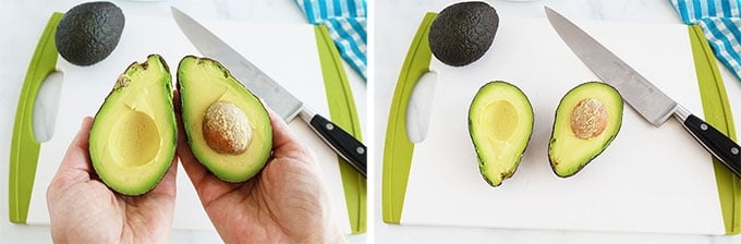Avocat ouvert en deux avec un couteau