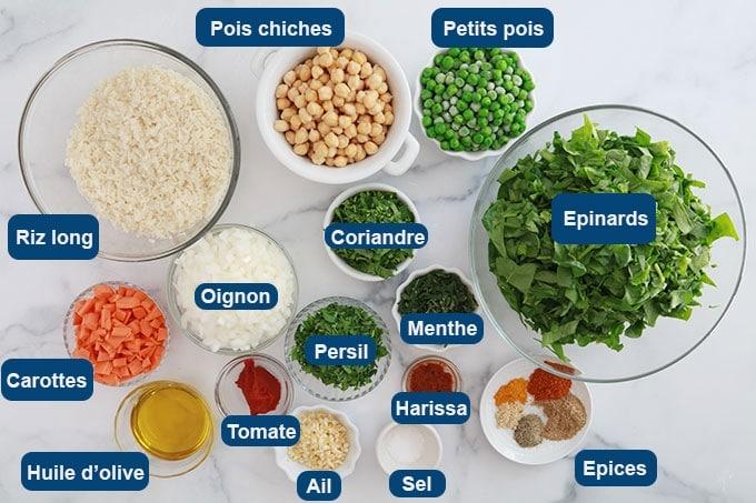 Ingredients du riz aux legumes a la vapeur tunisien